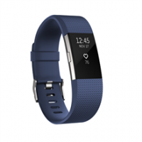 Fitbit Charge 2 Blue Silver - Large  FB407SBUL-EU OLED, Bluetooth, Yes, Heart rate monitor, GPS (satellite), Waterproof