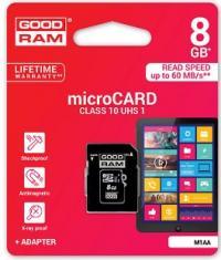 Atminties kortelė GOODRAM 8GB microSDHC 10 class  su adapteriu